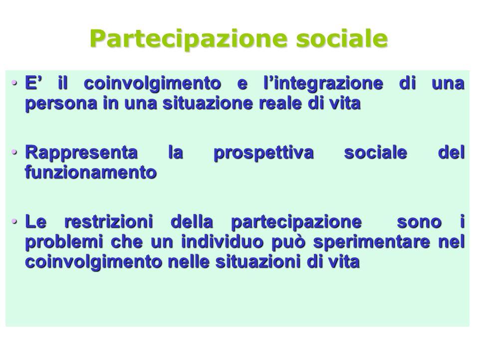Partecipazione sociale E il coinvolgimento e lintegrazione di una persona in una situazione reale di vitaE il coinvolgimento e lintegrazione di una pe