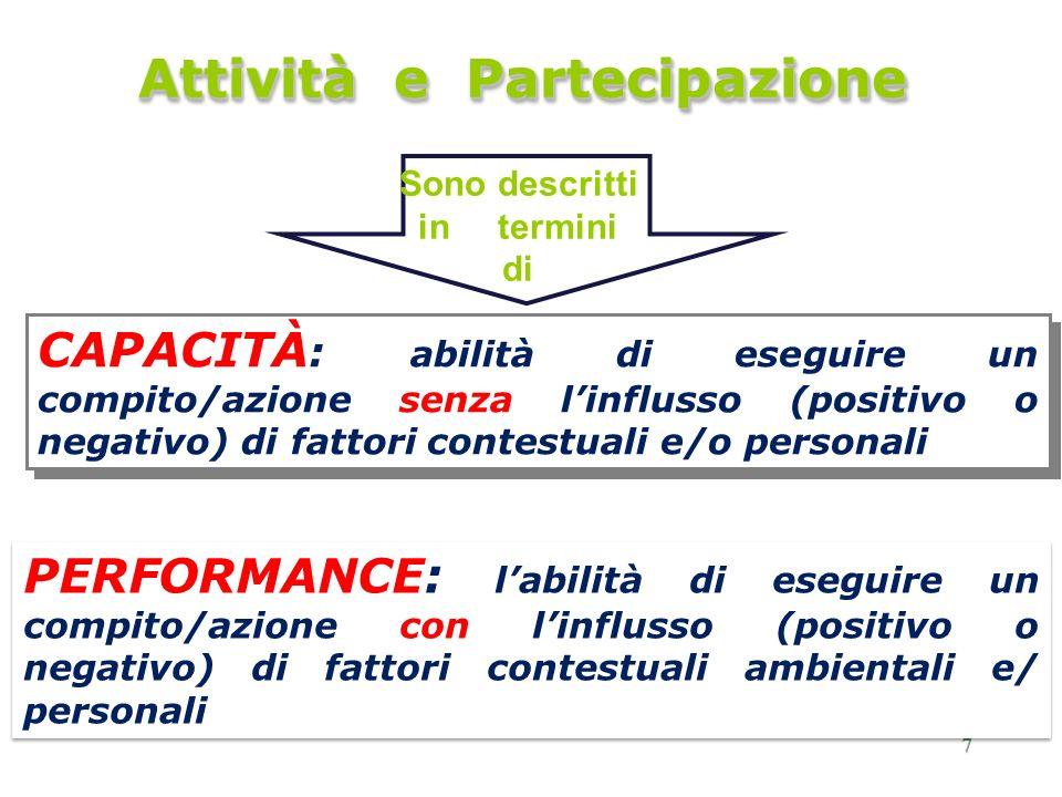 7 7 Attività e Partecipazione Attività e Partecipazione CAPACITÀ : abilità di eseguire un compito/azione senza linflusso (positivo o negativo) di fatt