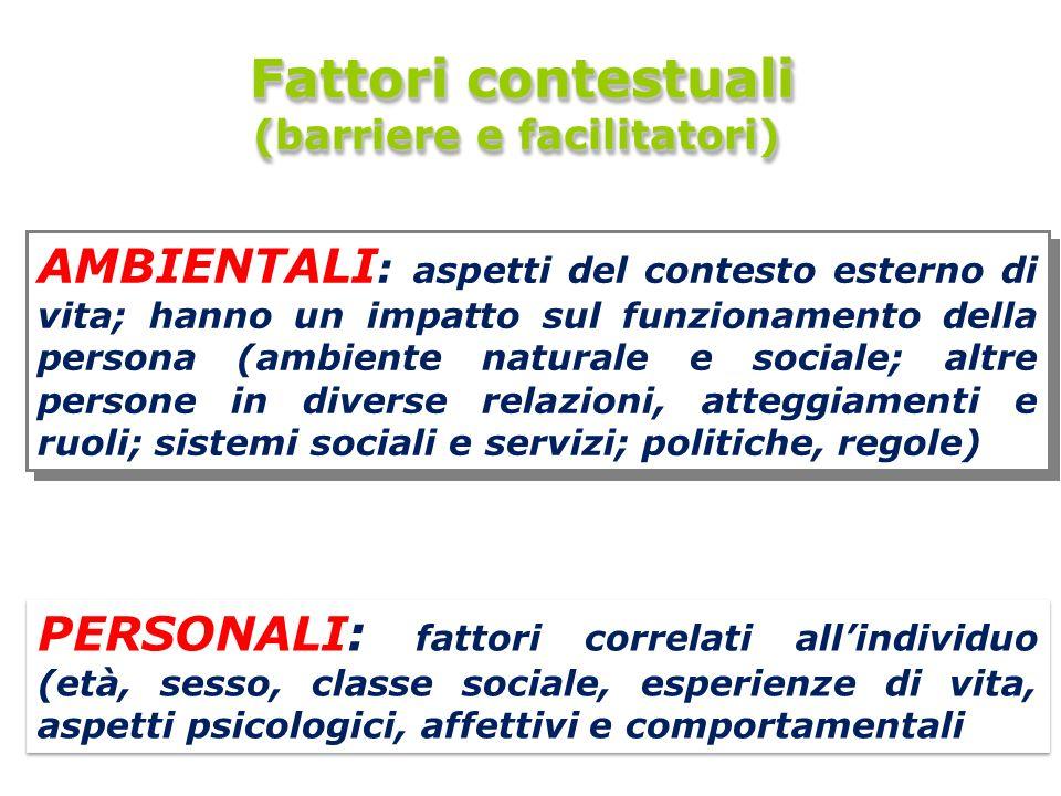 8 8 Fattori contestuali Fattori contestuali (barriere e facilitatori) Fattori contestuali Fattori contestuali (barriere e facilitatori) AMBIENTALI : a