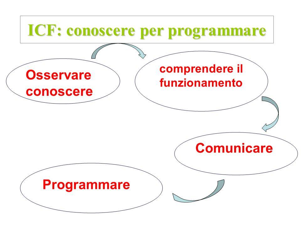 ICF: conoscere per programmare comprendere il funzionamento Comunicare Osservare conoscere Programmare