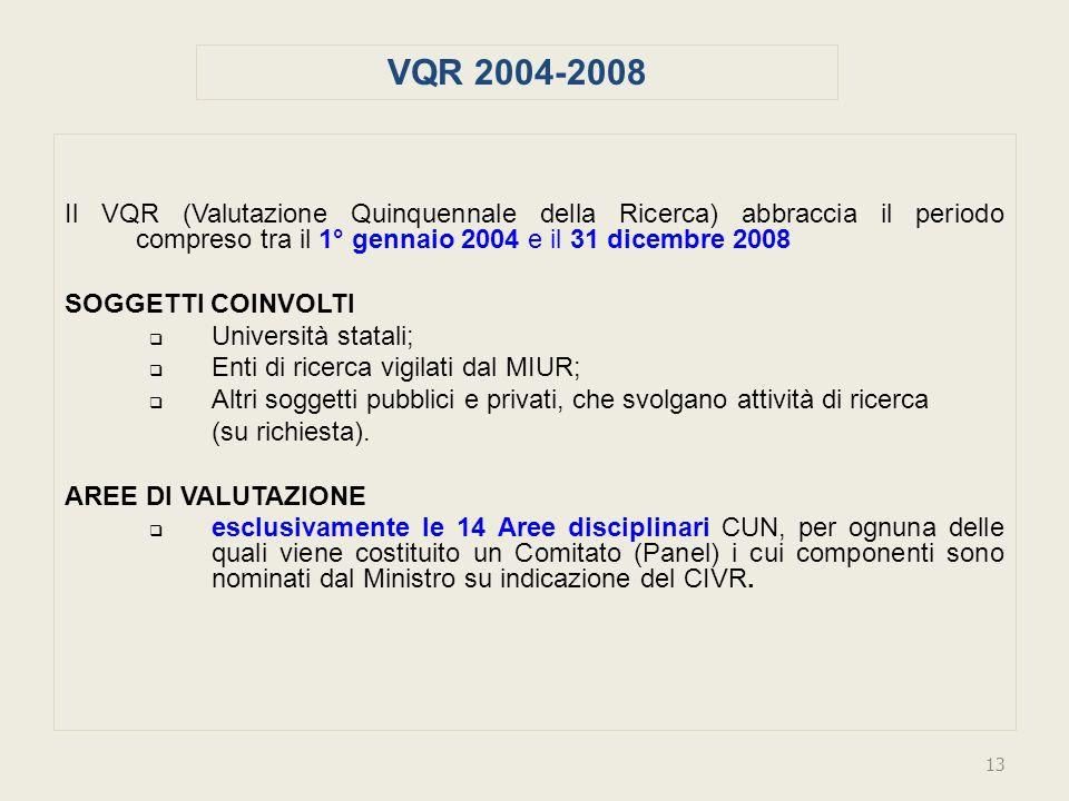 Il VQR (Valutazione Quinquennale della Ricerca) abbraccia il periodo compreso tra il 1° gennaio 2004 e il 31 dicembre 2008 SOGGETTI COINVOLTI Università statali; Enti di ricerca vigilati dal MIUR; Altri soggetti pubblici e privati, che svolgano attività di ricerca (su richiesta).