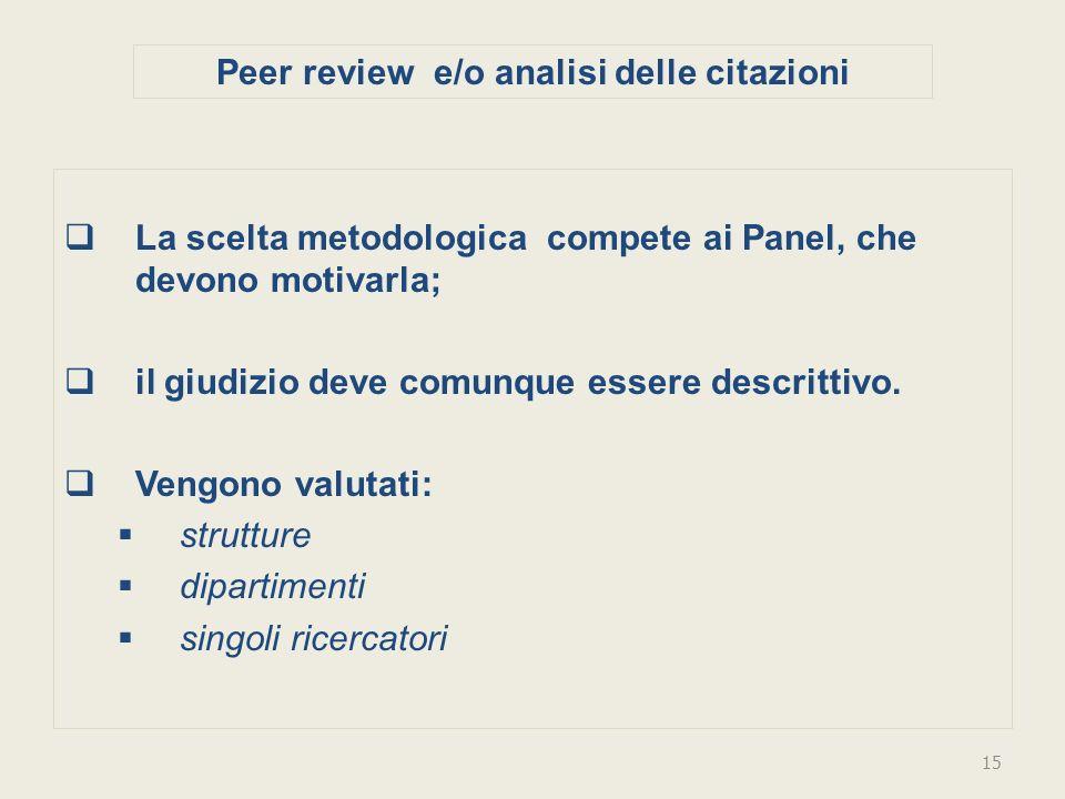 Peer review e/o analisi delle citazioni La scelta metodologica compete ai Panel, che devono motivarla; il giudizio deve comunque essere descrittivo.