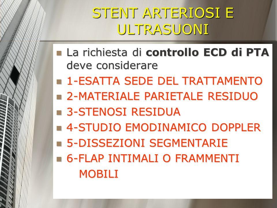 STENT ARTERIOSI E ULTRASUONI La richiesta di controllo ECD di PTA deve considerare La richiesta di controllo ECD di PTA deve considerare 1-ESATTA SEDE