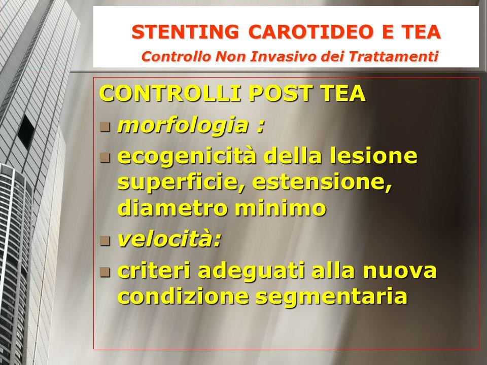 STENTING CAROTIDEO E TEA Controllo Non Invasivo dei Trattamenti CONTROLLI POST TEA morfologia : morfologia : ecogenicità della lesione superficie, est