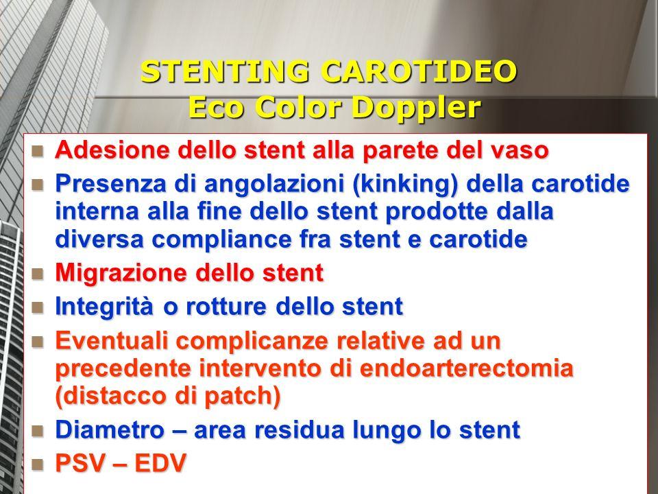 STENTING CAROTIDEO Eco Color Doppler Adesione dello stent alla parete del vaso Adesione dello stent alla parete del vaso Presenza di angolazioni (kink