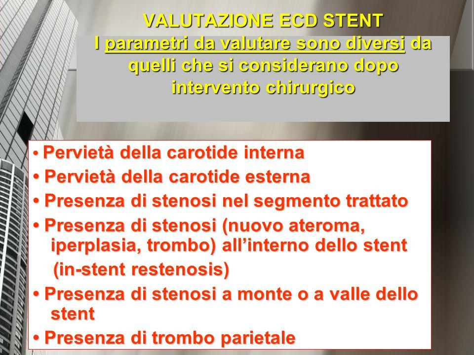 VALUTAZIONE ECD STENT I parametri da valutare sono diversi da quelli che si considerano dopo intervento chirurgico Pervietà della carotide interna Per