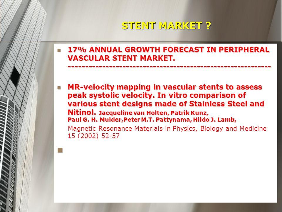 STENT MARKET ? STENT MARKET ? 17% ANNUAL GROWTH FORECAST IN PERIPHERAL VASCULAR STENT MARKET. --------------------------------------------------------