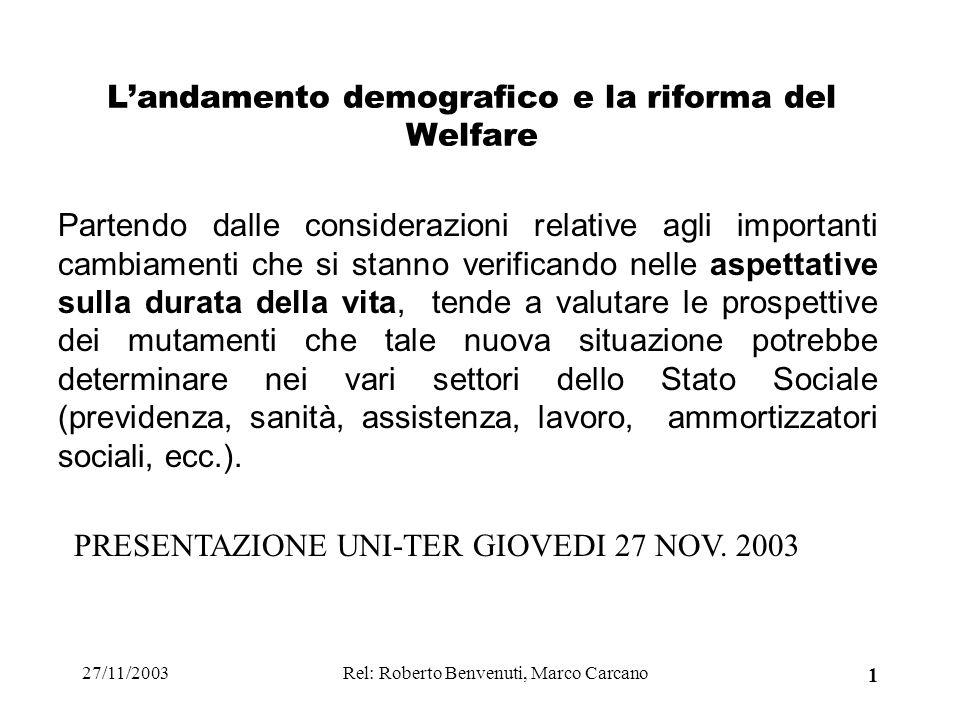 27/11/2003Rel: Roberto Benvenuti, Marco Carcano 1 Landamento demografico e la riforma del Welfare Partendo dalle considerazioni relative agli importan
