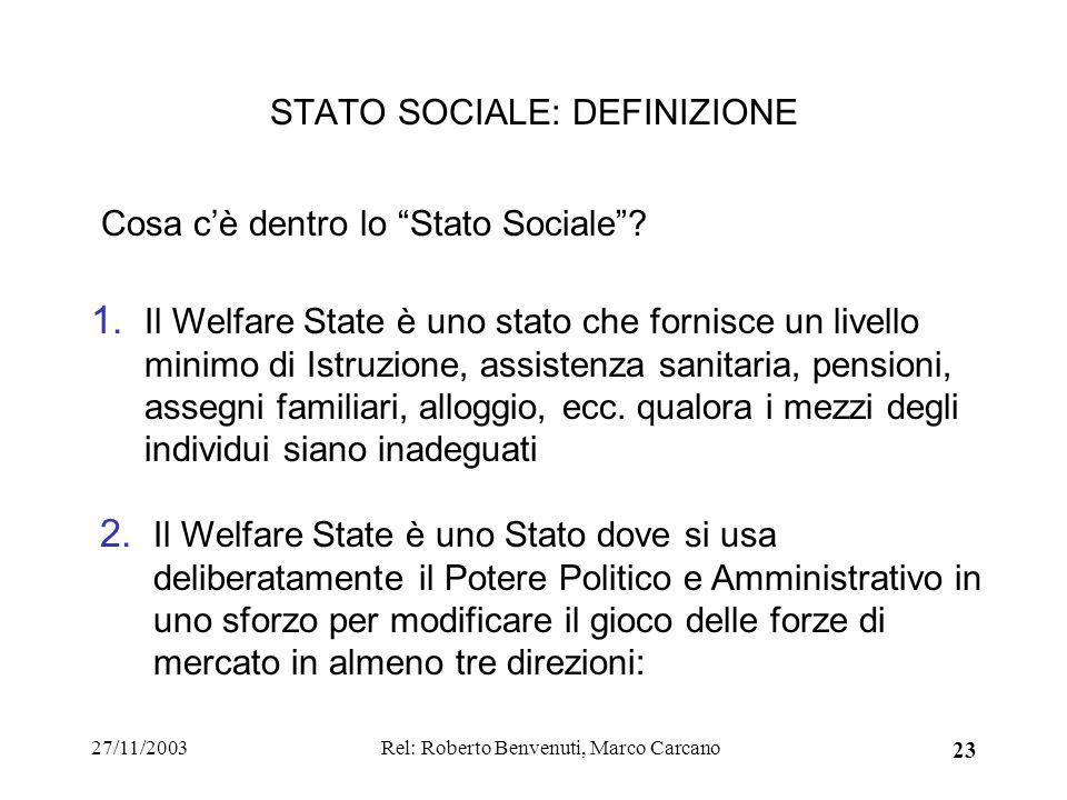 27/11/2003Rel: Roberto Benvenuti, Marco Carcano 23 STATO SOCIALE: DEFINIZIONE 2. Il Welfare State è uno Stato dove si usa deliberatamente il Potere Po