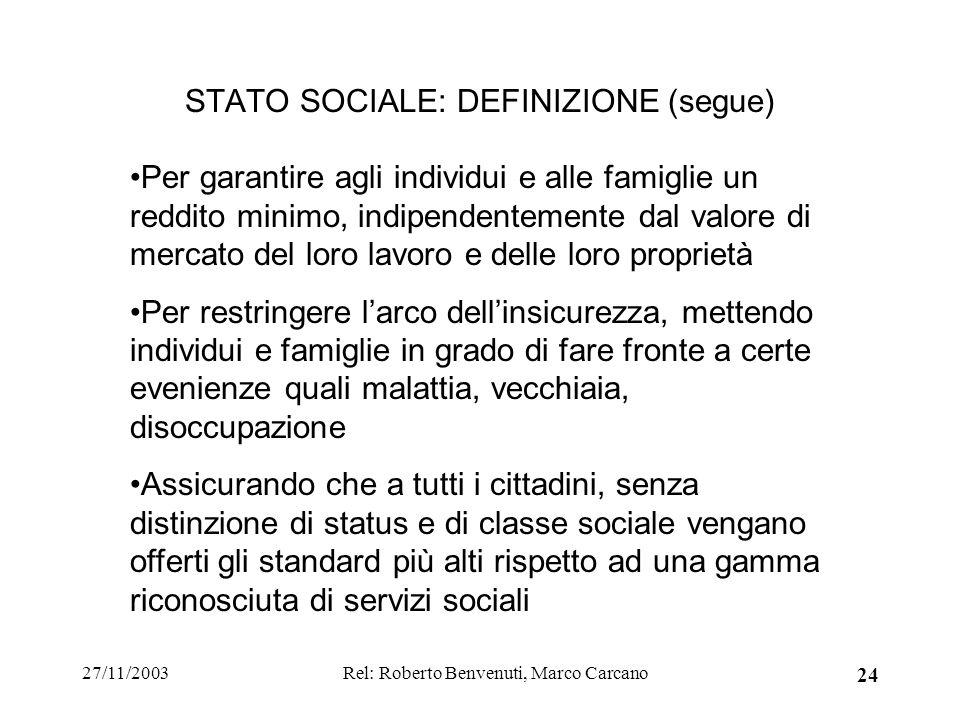 27/11/2003Rel: Roberto Benvenuti, Marco Carcano 24 STATO SOCIALE: DEFINIZIONE (segue) Per garantire agli individui e alle famiglie un reddito minimo,