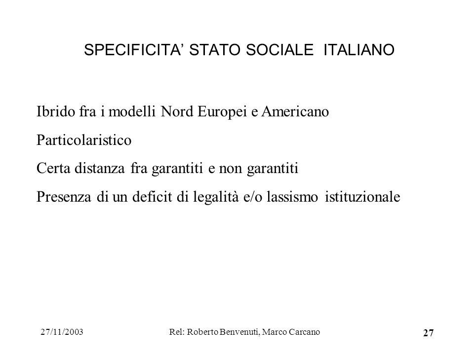 27/11/2003Rel: Roberto Benvenuti, Marco Carcano 27 SPECIFICITA STATO SOCIALE ITALIANO Ibrido fra i modelli Nord Europei e Americano Particolaristico C