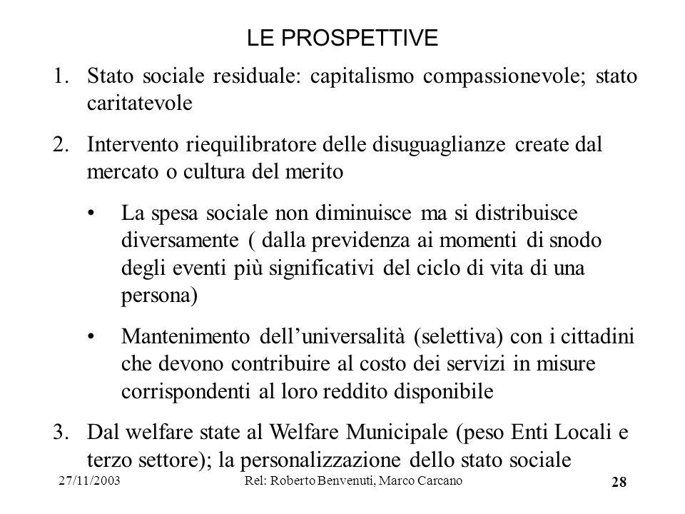 27/11/2003Rel: Roberto Benvenuti, Marco Carcano 28 LE PROSPETTIVE 1.Stato sociale residuale: capitalismo compassionevole; stato caritatevole 2.Interve