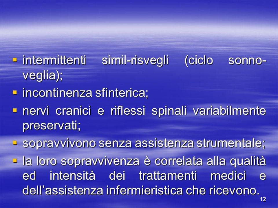 12 intermittenti simil-risvegli (ciclo sonno- veglia); intermittenti simil-risvegli (ciclo sonno- veglia); incontinenza sfinterica; incontinenza sfint