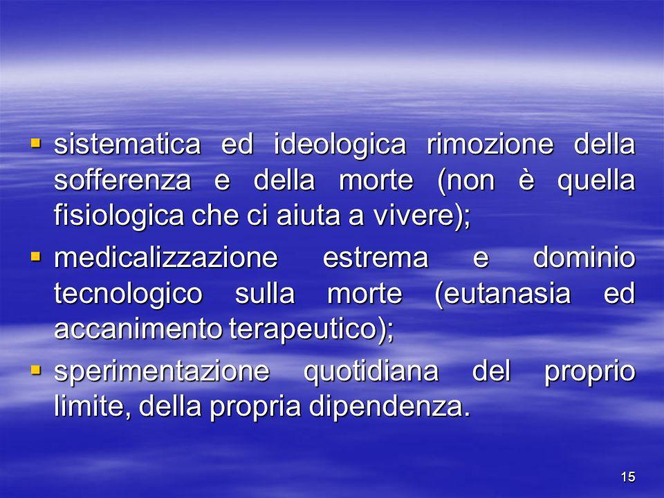 15 sistematica ed ideologica rimozione della sofferenza e della morte (non è quella fisiologica che ci aiuta a vivere); sistematica ed ideologica rimo