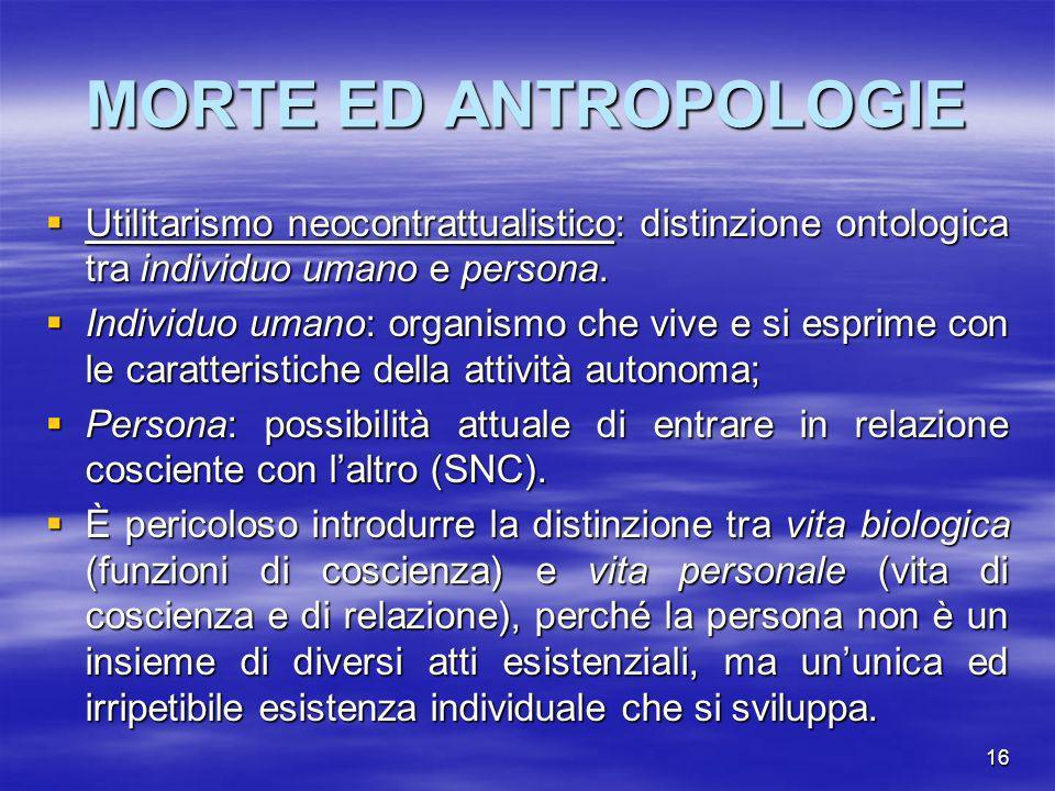 16 MORTE ED ANTROPOLOGIE Utilitarismo neocontrattualistico: distinzione ontologica tra individuo umano e persona. Utilitarismo neocontrattualistico: d