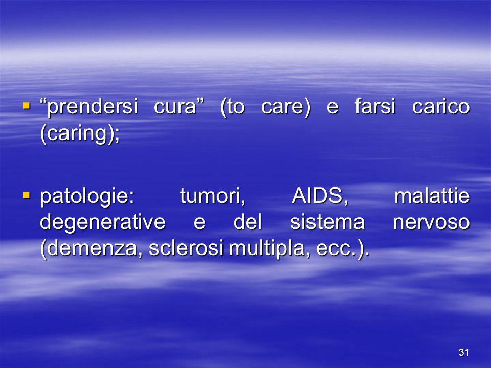 31 prendersi cura (to care) e farsi carico (caring); prendersi cura (to care) e farsi carico (caring); patologie: tumori, AIDS, malattie degenerative