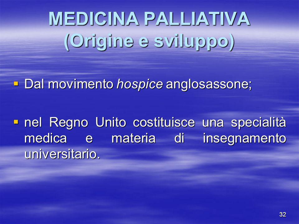 32 MEDICINA PALLIATIVA (Origine e sviluppo) Dal movimento hospice anglosassone; Dal movimento hospice anglosassone; nel Regno Unito costituisce una sp