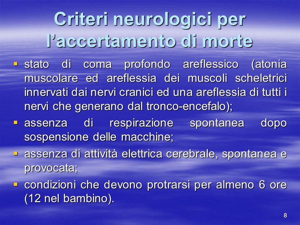 8 Criteri neurologici per laccertamento di morte stato di coma profondo areflessico (atonia muscolare ed areflessia dei muscoli scheletrici innervati