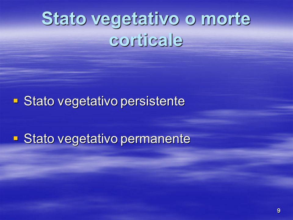 9 Stato vegetativo o morte corticale Stato vegetativo persistente Stato vegetativo persistente Stato vegetativo permanente Stato vegetativo permanente