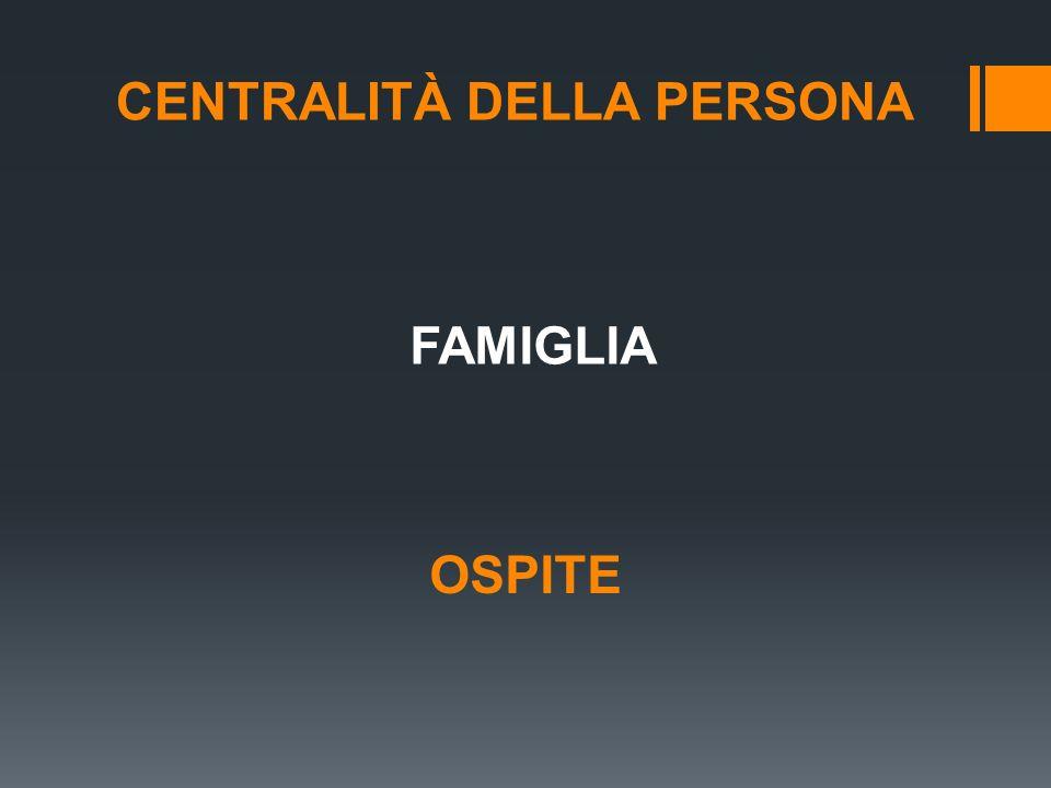 CENTRALITÀ DELLA PERSONA FAMIGLIA OSPITE