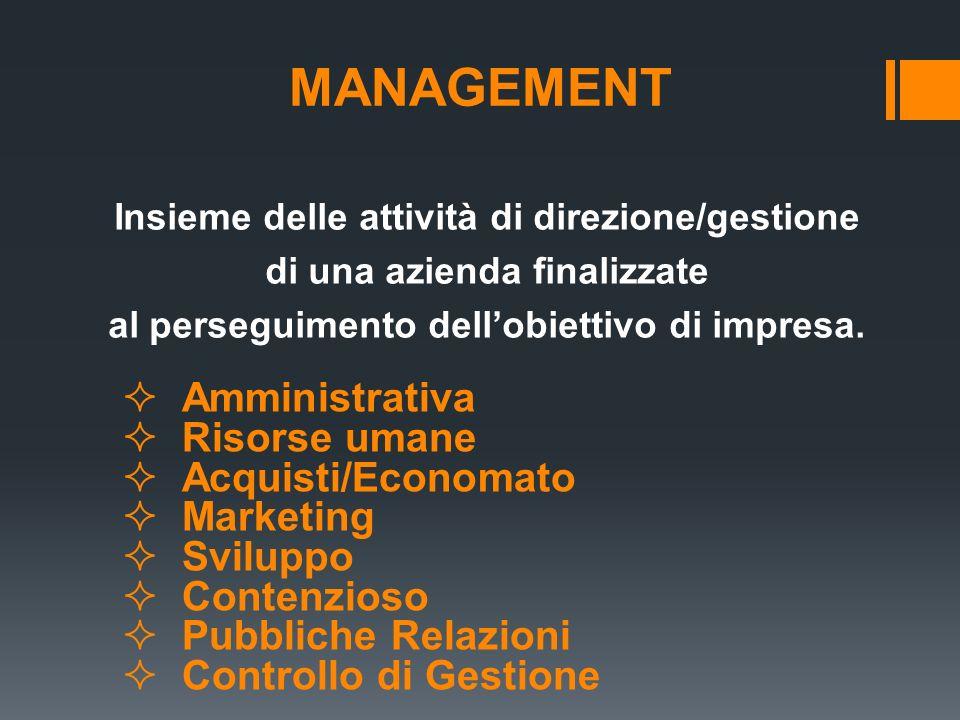 MANAGEMENT Insieme delle attività di direzione/gestione di una azienda finalizzate al perseguimento dellobiettivo di impresa. Amministrativa Risorse u