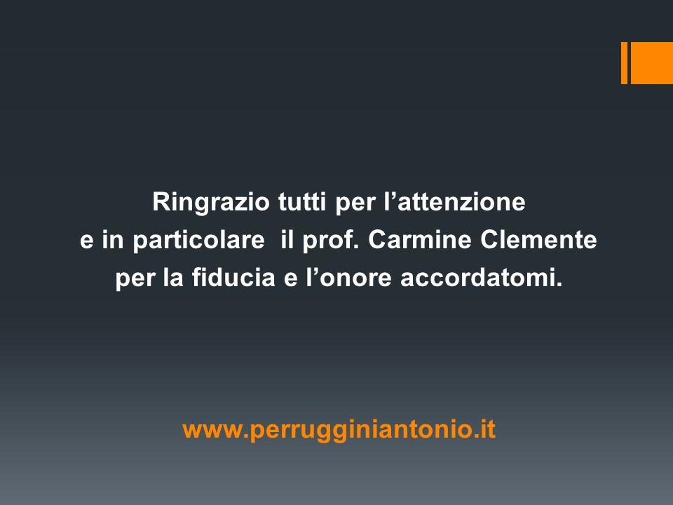 Ringrazio tutti per lattenzione e in particolare il prof. Carmine Clemente per la fiducia e lonore accordatomi. www.perrugginiantonio.it