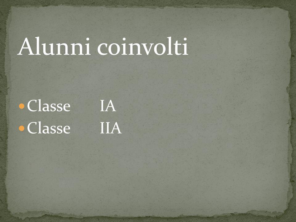 Alunni coinvolti Classe IA Classe IIA