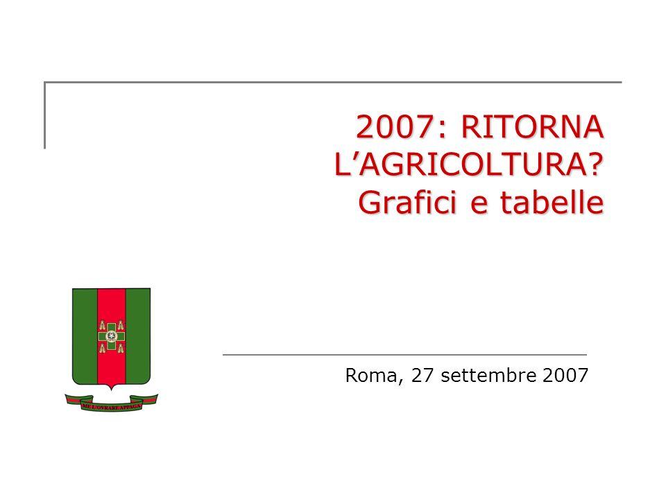 2007: RITORNA LAGRICOLTURA? Grafici e tabelle Roma, 27 settembre 2007
