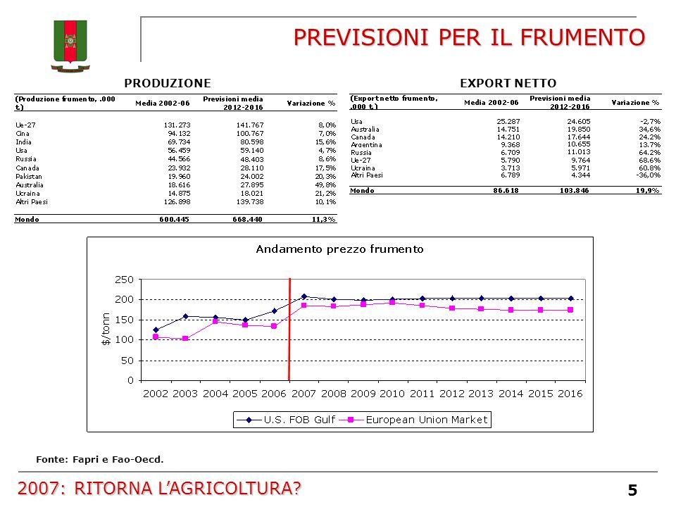 5 PREVISIONI PER IL FRUMENTO Fonte: Fapri e Fao-Oecd. PRODUZIONEEXPORT NETTO 2007: RITORNA LAGRICOLTURA?