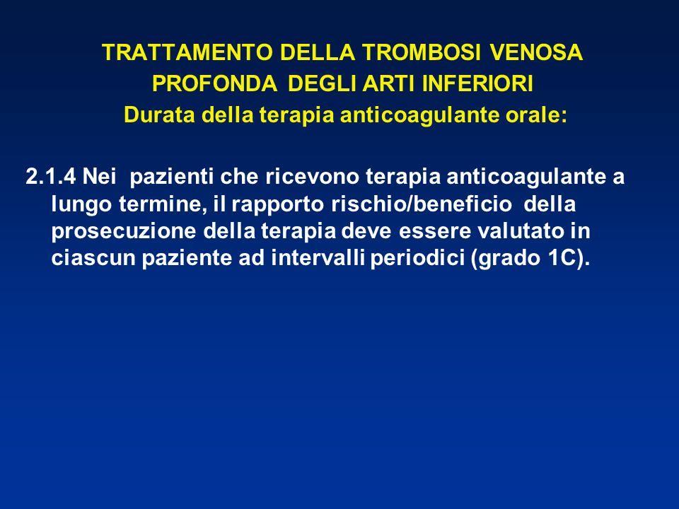 TRATTAMENTO DELLA TROMBOSI VENOSA PROFONDA DEGLI ARTI INFERIORI Durata della terapia anticoagulante orale: 2.1.4 Nei pazienti che ricevono terapia ant