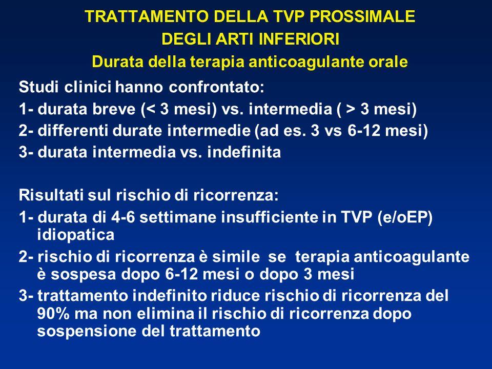 TRATTAMENTO DELLA TVP PROSSIMALE DEGLI ARTI INFERIORI Durata della terapia anticoagulante orale Studi clinici hanno confrontato: 1- durata breve ( 3 m