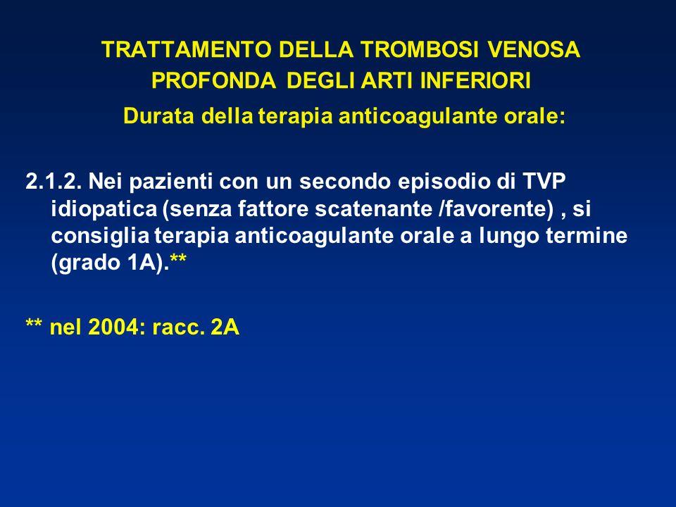 TRATTAMENTO DELLA TROMBOSI VENOSA PROFONDA DEGLI ARTI INFERIORI Durata della terapia anticoagulante orale: 2.1.2. Nei pazienti con un secondo episodio