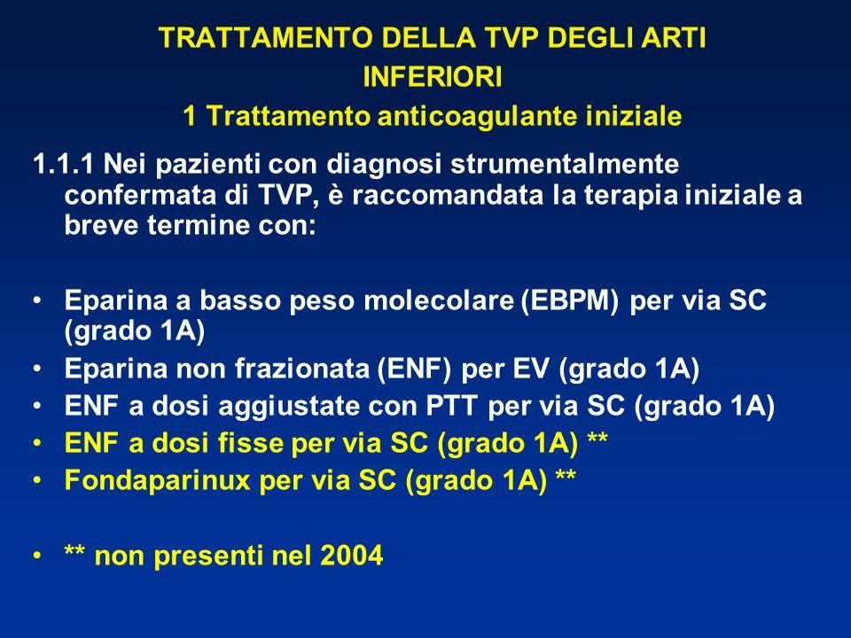 TRATTAMENTO DELLA TVP DEGLI ARTI INFERIORI 1 Trattamento anticoagulante iniziale 1.1.1 Nei pazienti con diagnosi strumentalmente confermata di TVP, è