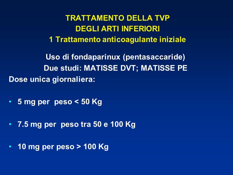 TRATTAMENTO DELLA TVP DEGLI ARTI INFERIORI 1 Trattamento anticoagulante iniziale Uso di fondaparinux (pentasaccaride) Due studi: MATISSE DVT; MATISSE
