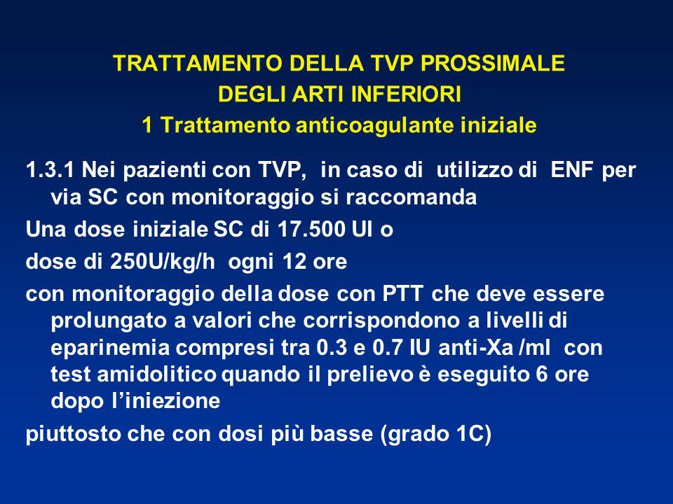 TRATTAMENTO DELLA TVP PROSSIMALE DEGLI ARTI INFERIORI 1 Trattamento anticoagulante iniziale 1.3.1 Nei pazienti con TVP, in caso di utilizzo di ENF per