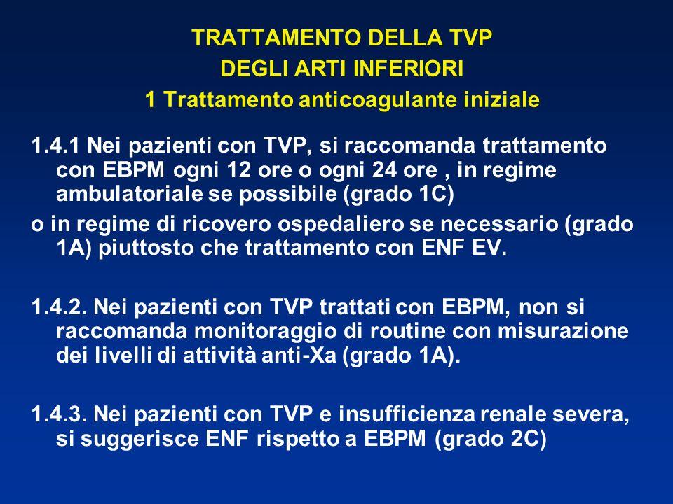 TRATTAMENTO DELLA TVP DEGLI ARTI INFERIORI 1 Trattamento anticoagulante iniziale 1.4.1 Nei pazienti con TVP, si raccomanda trattamento con EBPM ogni 1