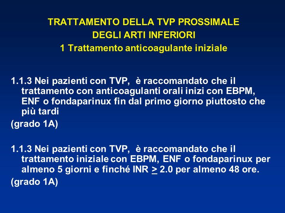 TRATTAMENTO DELLA TVP PROSSIMALE DEGLI ARTI INFERIORI 1 Trattamento anticoagulante iniziale 1.1.3 Nei pazienti con TVP, è raccomandato che il trattame