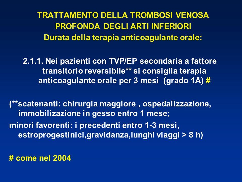 TRATTAMENTO DELLA TROMBOSI VENOSA PROFONDA DEGLI ARTI INFERIORI Durata della terapia anticoagulante orale: 2.1.1. Nei pazienti con TVP/EP secondaria a