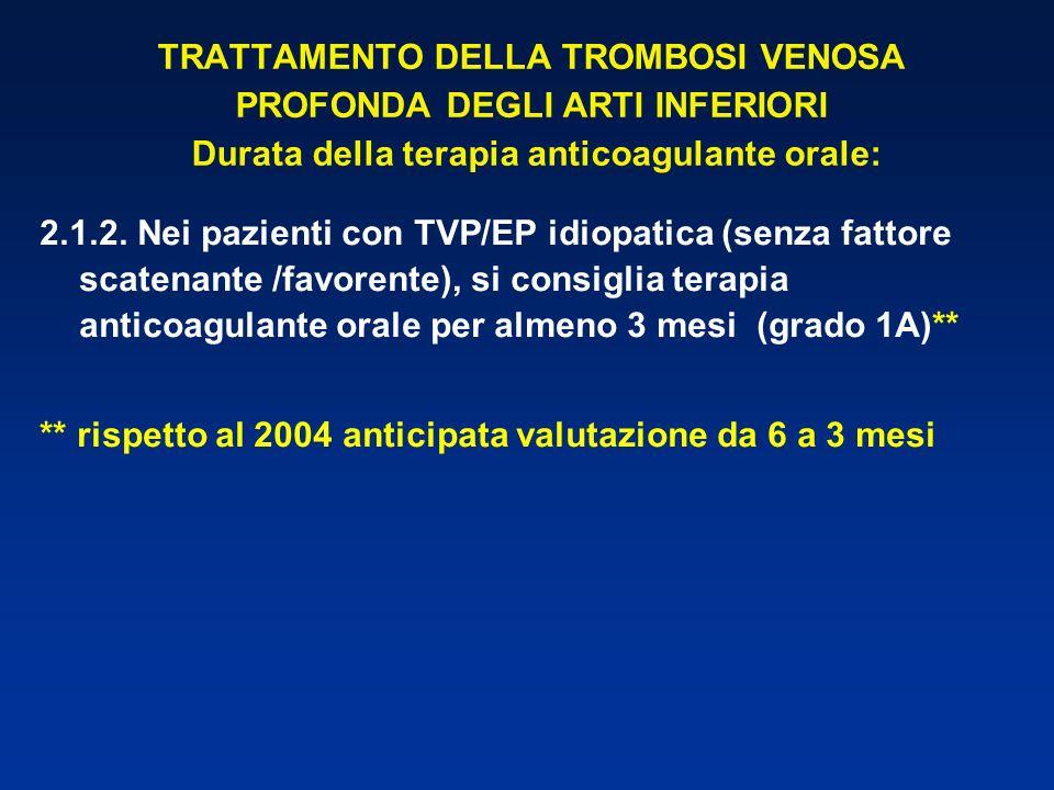 TRATTAMENTO DELLA TROMBOSI VENOSA PROFONDA DEGLI ARTI INFERIORI Durata della terapia anticoagulante orale: 2.1.2. Nei pazienti con TVP/EP idiopatica (