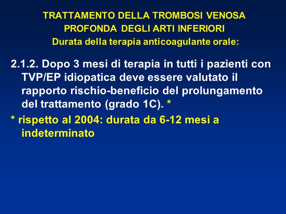 TRATTAMENTO DELLA TROMBOSI VENOSA PROFONDA DEGLI ARTI INFERIORI Durata della terapia anticoagulante orale: 2.1.2. Dopo 3 mesi di terapia in tutti i pa