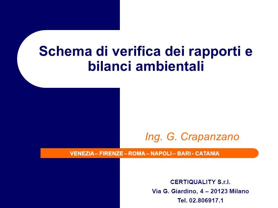 CERTIQUALITY S.r.l. Via G. Giardino, 4 – 20123 Milano Tel. 02.806917.1 VENEZIA – FIRENZE – ROMA – NAPOLI – BARI - CATANIA Schema di verifica dei rappo