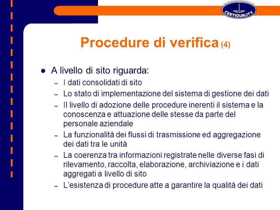 Procedure di verifica (4) A livello di sito riguarda: – I dati consolidati di sito – Lo stato di implementazione del sistema di gestione dei dati – Il