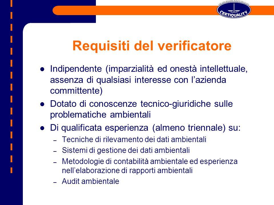Requisiti del verificatore Indipendente (imparzialità ed onestà intellettuale, assenza di qualsiasi interesse con lazienda committente) Dotato di cono