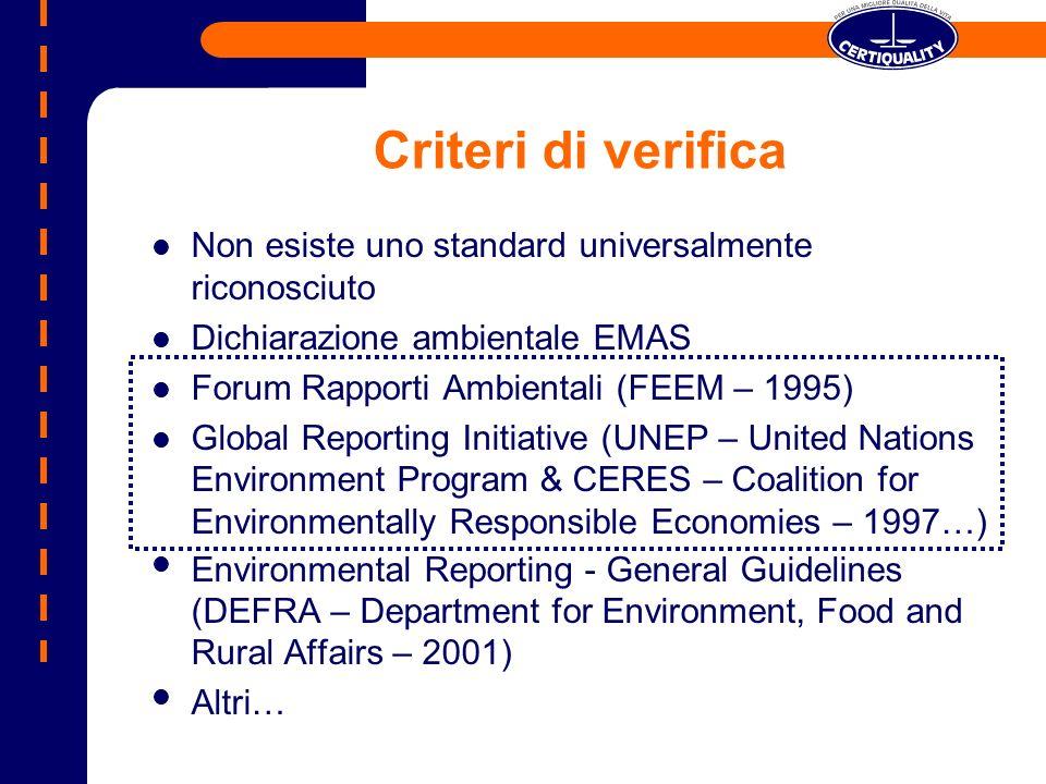 Criteri di verifica Non esiste uno standard universalmente riconosciuto Dichiarazione ambientale EMAS Forum Rapporti Ambientali (FEEM – 1995) Global R
