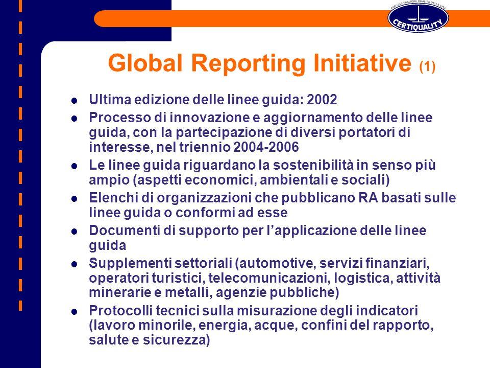 Global Reporting Initiative (1) Ultima edizione delle linee guida: 2002 Processo di innovazione e aggiornamento delle linee guida, con la partecipazio