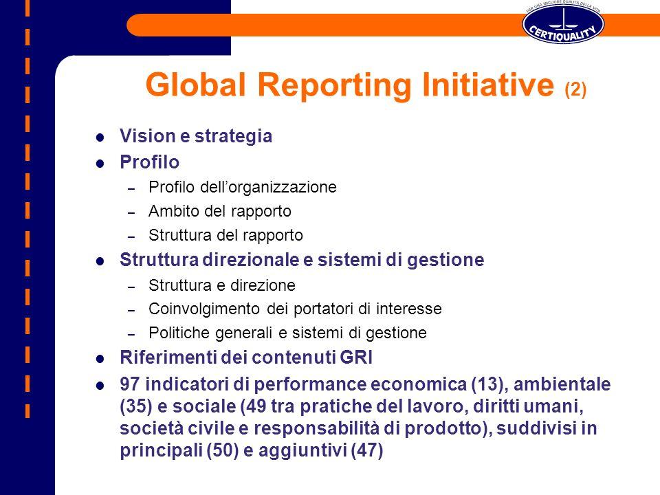 Global Reporting Initiative (2) Vision e strategia Profilo – Profilo dellorganizzazione – Ambito del rapporto – Struttura del rapporto Struttura direz