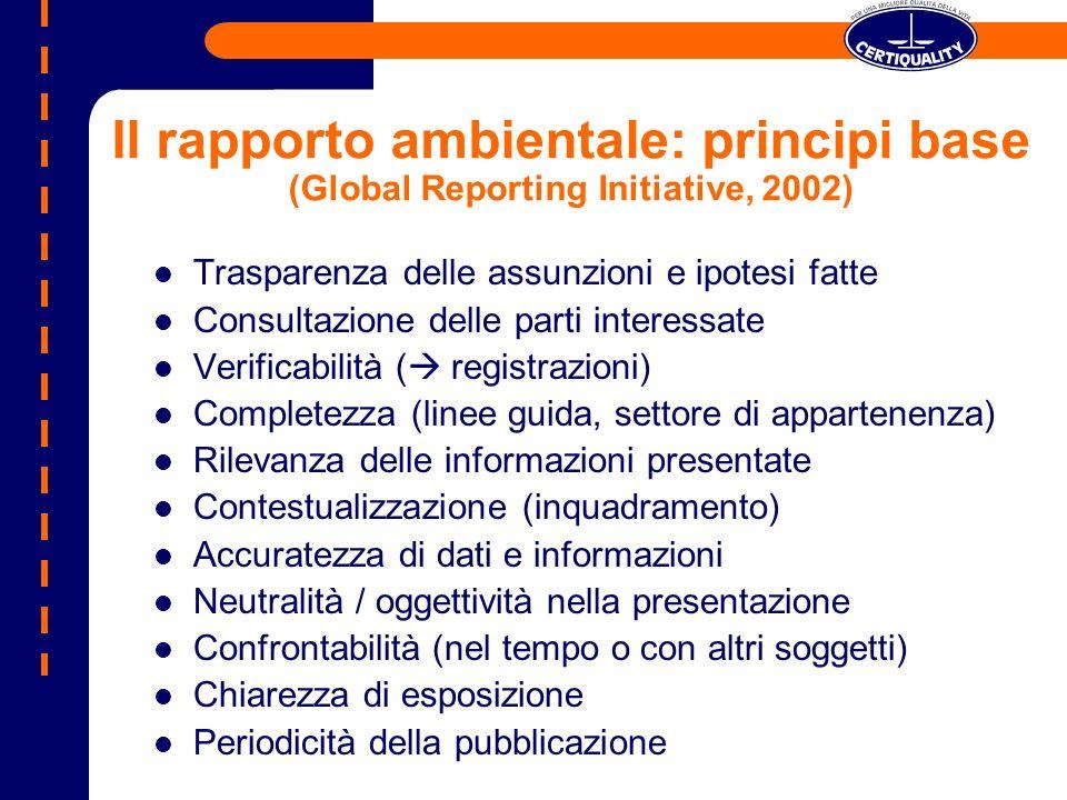 Il rapporto ambientale: principi base (Global Reporting Initiative, 2002) Trasparenza delle assunzioni e ipotesi fatte Consultazione delle parti inter