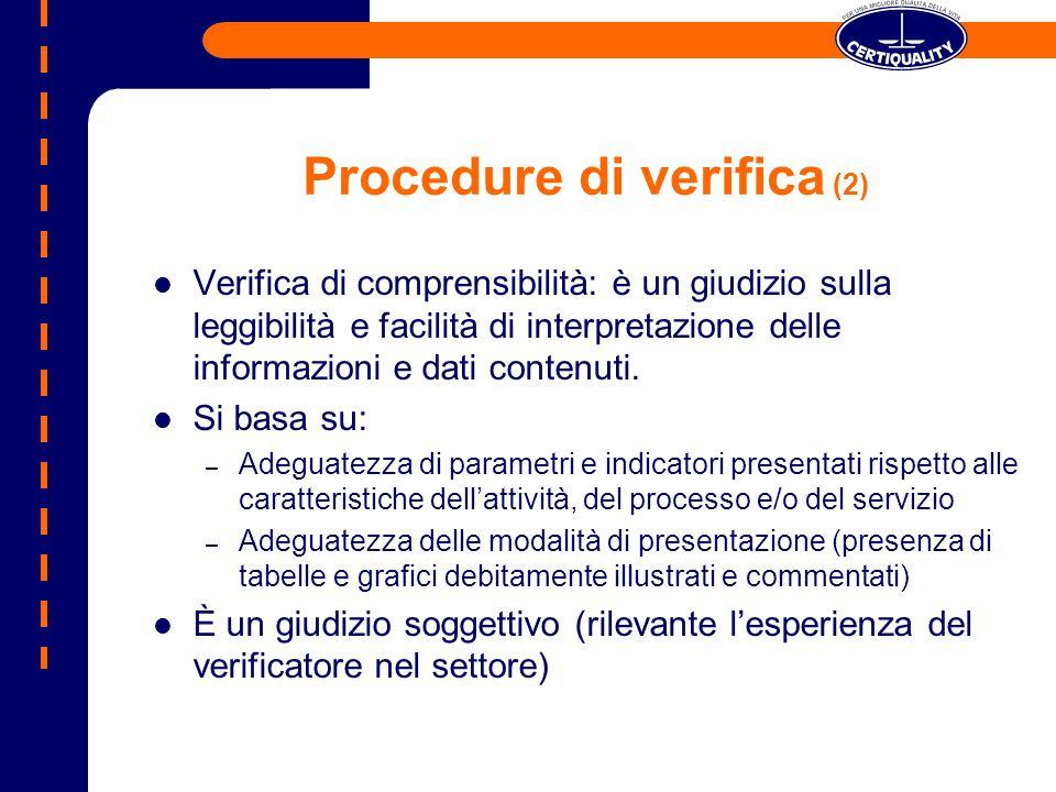 Procedure di verifica (2) Verifica di comprensibilità: è un giudizio sulla leggibilità e facilità di interpretazione delle informazioni e dati contenuti.