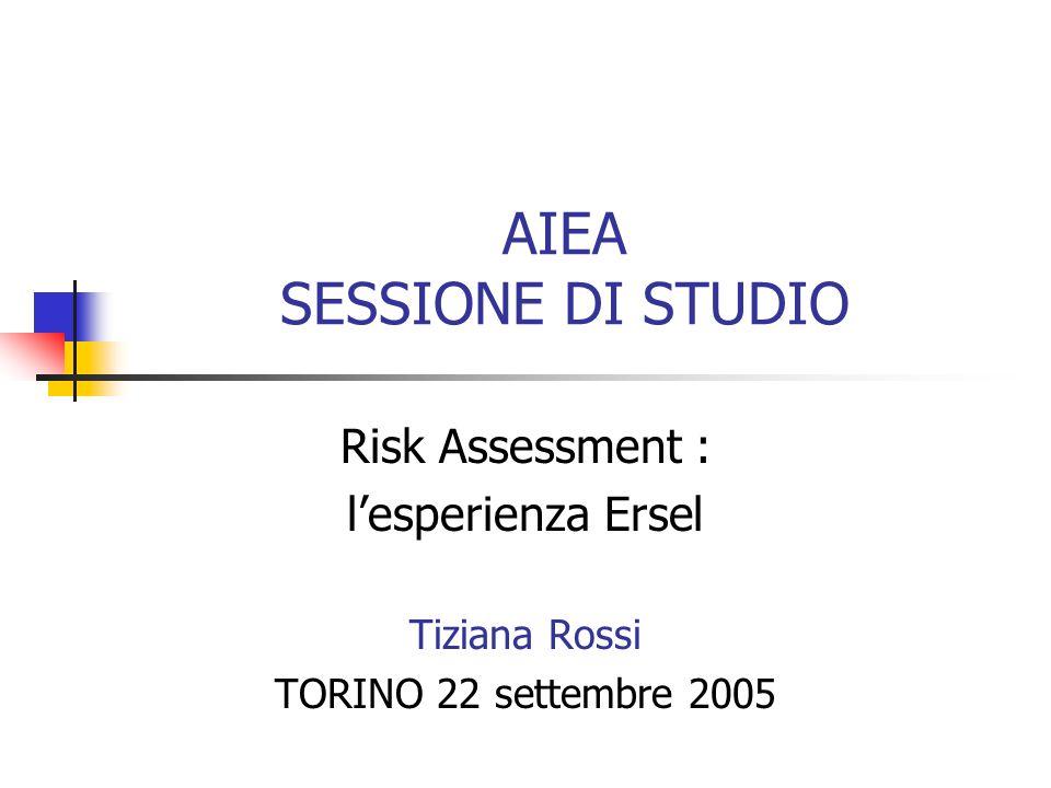 AIEA SESSIONE DI STUDIO Risk Assessment : lesperienza Ersel Tiziana Rossi TORINO 22 settembre 2005