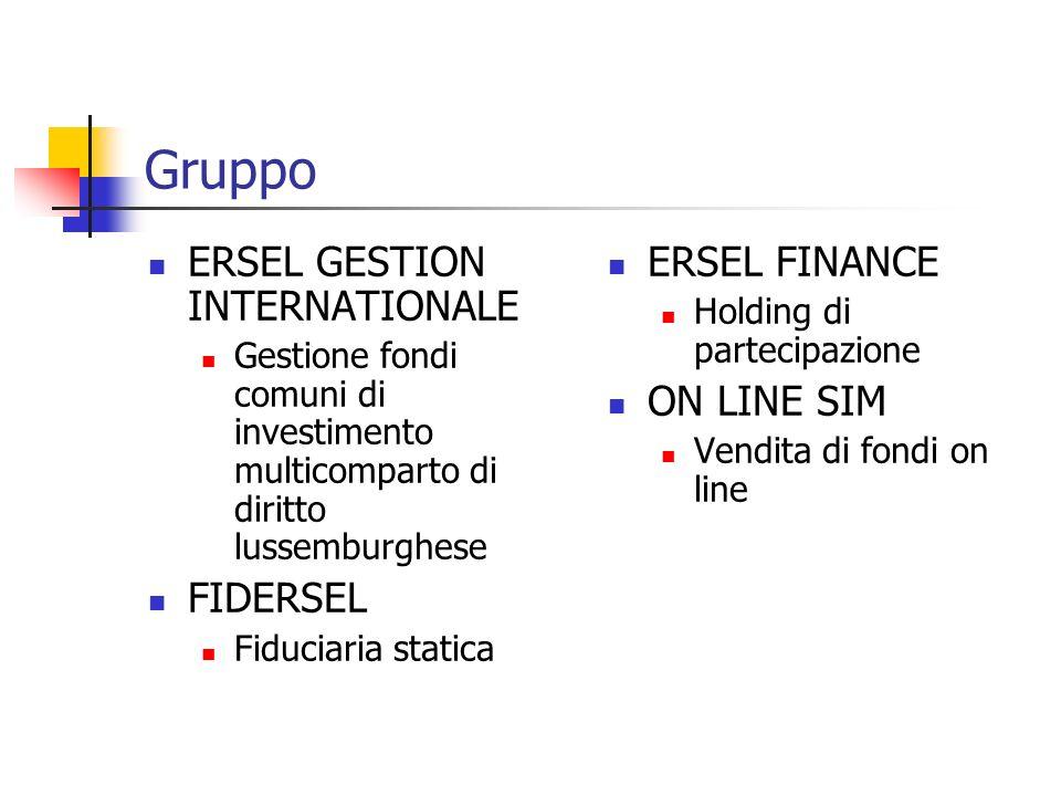 Gruppo ERSEL GESTION INTERNATIONALE Gestione fondi comuni di investimento multicomparto di diritto lussemburghese FIDERSEL Fiduciaria statica ERSEL FINANCE Holding di partecipazione ON LINE SIM Vendita di fondi on line